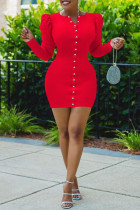 Red Fashion Casual Solid Split Joint V Neck Long Sleeve Dresses