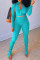 Sky Blue Fashion Casual Solid Slit Fold Zipper Collar Long Sleeve Two Pieces