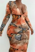 Orange Sexy Print Split Joint V Neck Pencil Skirt Dresses