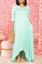 Blue Fashion Casual Solid Asymmetrical O Neck Long Dress