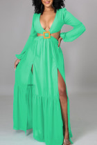 Green Sexy Solid Bandage Hollowed Out Split Joint Backless V Neck Straight Dresses