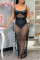 Black Sexy Solid Mesh Off the Shoulder Straight Dresses
