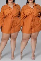Orange Fashion Casual Solid Basic Turndown Collar Plus Size Romper