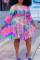 Purple Fashion Casual Plus Size Print Basic O Neck Long Sleeve Dresses