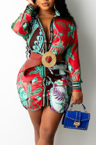 Red Casual Print Split Joint Turndown Collar Shirt Dress Dresses (Not Contain The Belt)