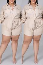 Apricot Fashion Casual Solid Basic Turndown Collar Plus Size Romper