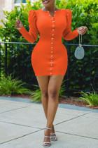 Orange Fashion Casual Solid Split Joint V Neck Long Sleeve Dresses