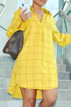 Yellow Fashion Casual Plus Size Plaid Print Basic Turndown Collar Shirt Dress
