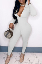 White Fashion Casual Solid Basic Zipper Collar Skinny Jumpsuits