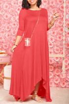 Red Fashion Casual Solid Asymmetrical O Neck Long Dress