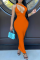 Tangerine Red Sexy Solid Hollowed Out Spaghetti Strap Pencil Skirt Dresses