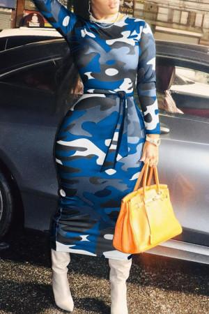 Blue Casual Camouflage Print Bandage Split Joint O Neck Pencil Skirt Dresses