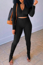 Black Fashion Casual Solid Slit Fold Zipper Collar Long Sleeve Two Pieces