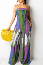 Green Sexy Casual Print Bandage Backless Strapless Regular Jumpsuits