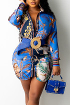 Blue Casual Print Split Joint Turndown Collar Shirt Dress Dresses (Not Contain The Belt)