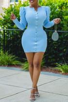 Light Blue Fashion Casual Solid Split Joint V Neck Long Sleeve Dresses