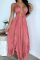 Pink Sexy Solid Hollowed Out Spaghetti Strap Irregular Dress Dresses