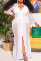 White Fashion Sexy Plus Size Patchwork See-through Zipper V Neck Long Sleeve Dresses