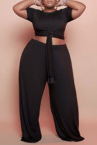 Black Fashion Casual Solid Bandage O Neck Plus Size Two Pieces