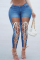 Deep Blue Casual Solid Draw String Plus Size Jeans