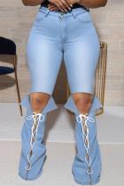 Light Blue Fashion Casual Solid Bandage Slit Plus Size Jeans