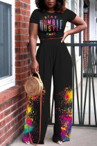 Black Fashion Casual Print Basic O Neck Short Sleeve Two Pieces