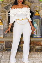 White Casual Solid Split Joint Flounce Off the Shoulder Straight Jumpsuits