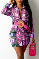 Purple Casual Print Split Joint Turndown Collar Shirt Dress Dresses (Not Contain The Belt)