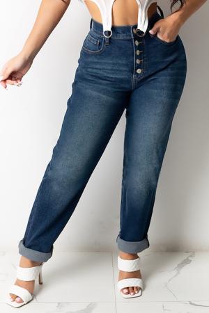 Dark Blue Casual Solid Buckle Mid Waist Straight Denim Jeans