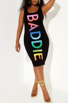 Black Fashion Casual Plus Size Letter Print Hollowed Out U Neck Vest Dress
