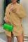 Brownness Casual Solid Split Joint Turndown Collar Shirt Dress Dresses