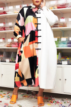 White Casual Print Buttons Turndown Collar Shirt Dress Plus Size Dresses