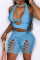White Fashion Sexy Solid Hollowed Out Backless Halter Skinny Two-piece Set