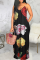 Black Sexy Print Split Joint Spaghetti Strap Straight Dresses