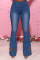 Blue Casual Print Draw String Plus Size Jeans