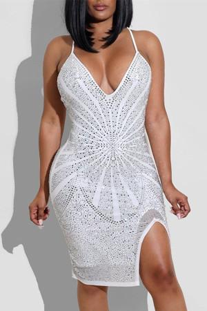 White Fashion Sexy Hot Drilling Split Joint Backless Slit V Neck Sling Dress