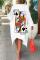 White Casual Print Split Joint O Neck Irregular Dress Dresses