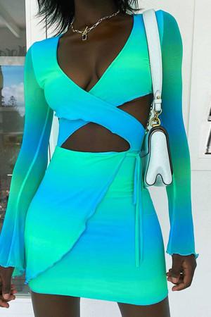 Blue Sexy Gradual Change Print Hollowed Out Split Joint Frenulum V Neck Pencil Skirt Dresses