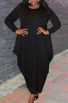 Black Casual Solid Split Joint Asymmetrical O Neck Irregular Dress Plus Size Dresses