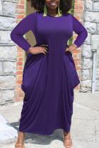 Purple Casual Solid Split Joint Asymmetrical O Neck Irregular Dress Plus Size Dresses