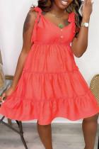 Tangerine Sweet Solid Bandage Make Old V Neck Cake Skirt Dresses