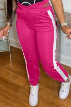 Rose Red Casual Sportswear Patchwork Basic Regular High Waist Trousers