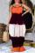 Tangerine Red Casual Print Split Joint Spaghetti Strap Cake Skirt Dresses