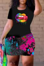 Black Fashion Casual Lips Printed Basic O Neck Plus Size Romper