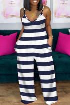 Stripe Fashion Casual Striped Printing Spaghetti Strap Plus Size Jumpsuits