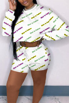 White Casual Letter Print Split Joint O Neck Long Sleeve Two Pieces