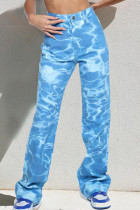 Blue Casual Print Tie Dye Split Joint Straight Denim Jeans
