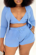Blue Sexy Casual Solid Cardigan V Neck Plus Size Two Pieces