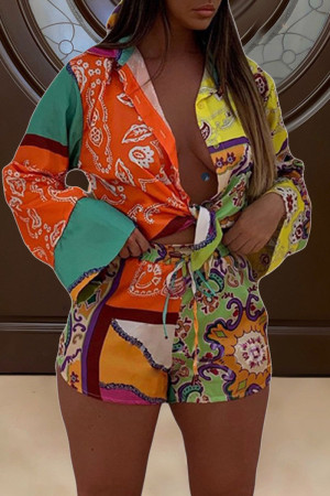 Multicolor Street Print Split Joint Buckle Turndown Collar Long Sleeve Two Pieces Contains The Scarf