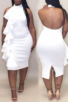 White Sexy Solid Flounce Halter Straight Dresses